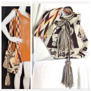 Woven Knit Crossbody Hobo Juan Valdez  Coffee Bag